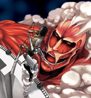 "Close-up of a man slicing his sword towards the Colossal Titan. From the manga ""Attack on Titan 1"" by Hajime Isayama/Kodansha Ltd."